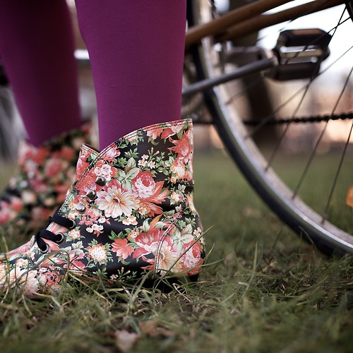 bicycle, boots, and floral image