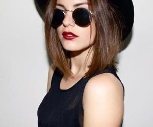 black, hat, and glasses image
