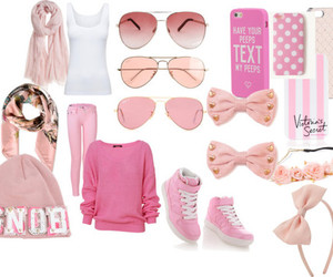 pink shoes, pink sunglasses, and pink jeans image