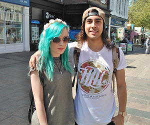 blue hair, fan, and vic fuentes image