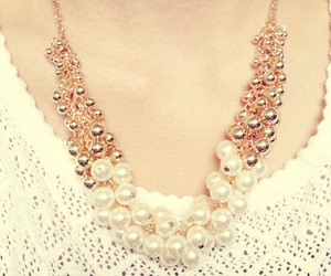 blogger gold pearl white and gold white chain image