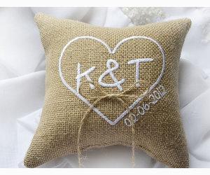 wedding ring pillow, heart wedding pillow, and burlap wedding pillow image