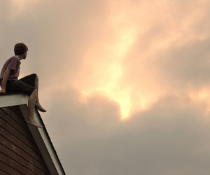 boy, roof, and sky image