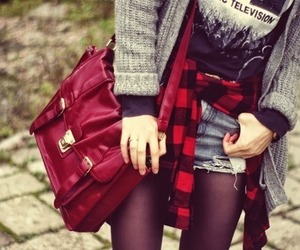 red, fashion, and cardigan image