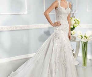wedding dress, bride, and gorgeous image