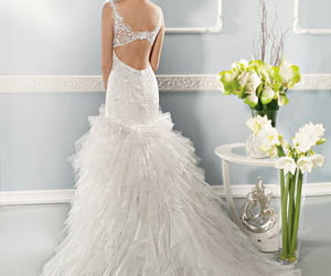 wedding dress, beautiful, and bride image