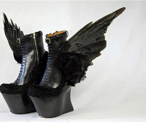fly, wings, and goth boots image