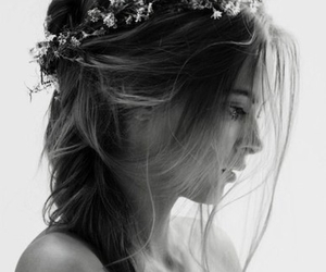 beautiful, black & white, and flower image