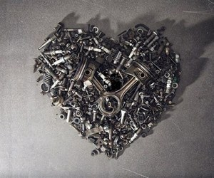 heart, metal, and motocycle image