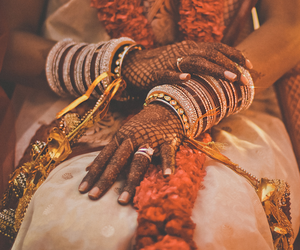 bride, fashion, and henna image