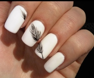 nails, feather, and black image