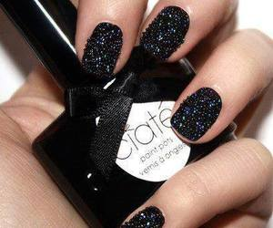 nails, black, and nail polish image