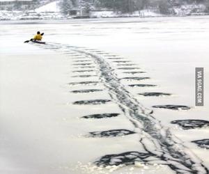 coat, ice, and kayaking image