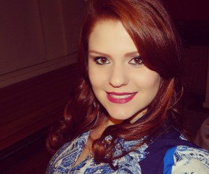 blue, makeup, and redhair image