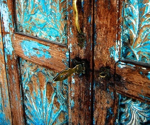 door, blue, and old image