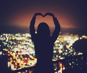 city, heart, and lights image
