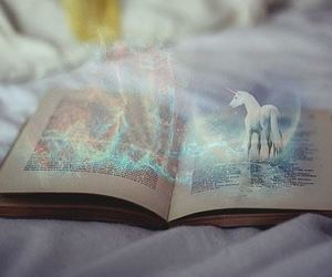 book, unicorn, and magic image