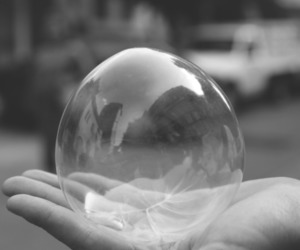 black and white and bubble image