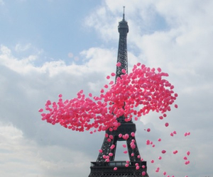 paris, pink, and balloons image
