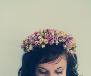 crown, pretty, and flowers image