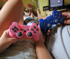 couple, pink, and blue image