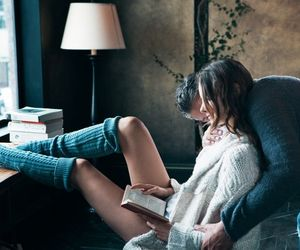 book, couple, and reading image