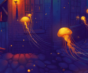 art, jellyfish, and night image