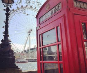 london, london eye, and red image