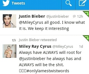 miley cyrus, tweets, and justin bieber image