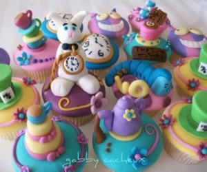 alice, alice in wonderland, and cupcake image