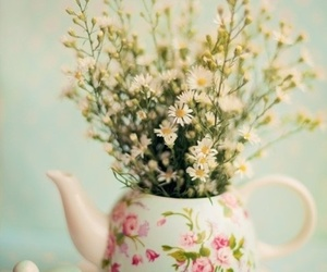 flowers, vintage, and teapot image