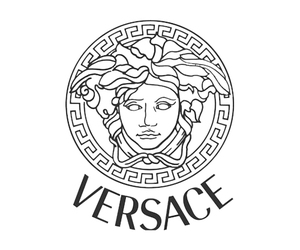 Versace, black, and white image