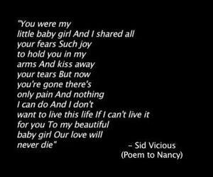 poem, Nancy Spungen, and sid and nancy image