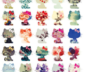 hello kitty, flowers, and floral image