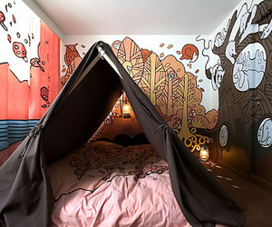 bedroom, bed, and tent image