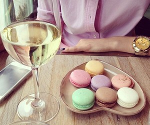 champagne, colors, and macarons image