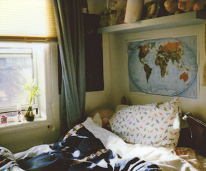 bed, map, and room image