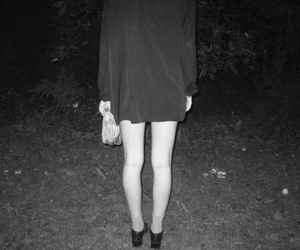 girl, black and white, and legs image