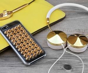 gold, headphones, and iphone image