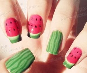 nails, watermelon, and green image