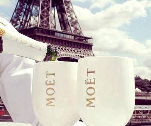 champagne, moet, and eiffel tower image