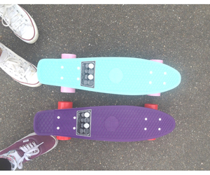 penny board, penny, and skate image