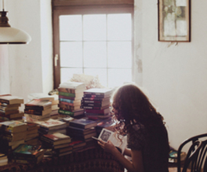 books, brunet, and curly hair image