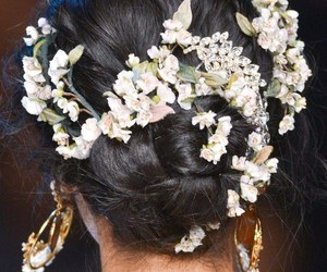 hair, flowers, and fashion image