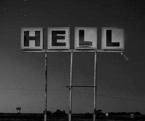 hell, black and white, and grunge image