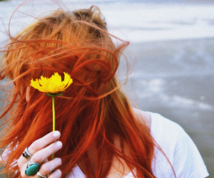 beach, flower, and redhead image
