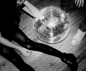 party, black and white, and disco image