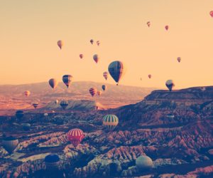 balloons, landscape, and sky image