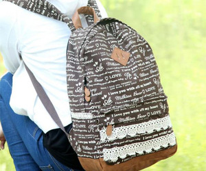 backpack, canvas, and lace image