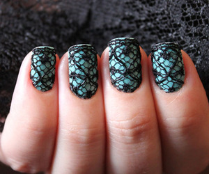 nails, lace, and blue image
